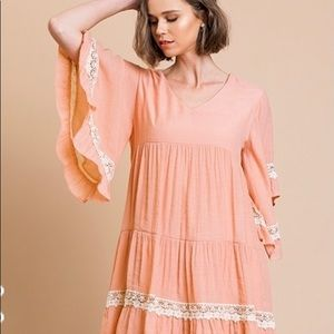 NEW TIERED Peach babydoll dress with lace detail